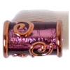 Glass Lamp Bead 16x8mm Tubes Amethyst/Silver Foiled/Bronze